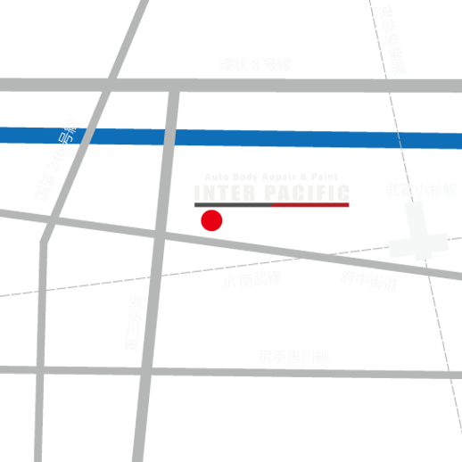 川崎市 中原区 板金塗装インターパシフィック案内図